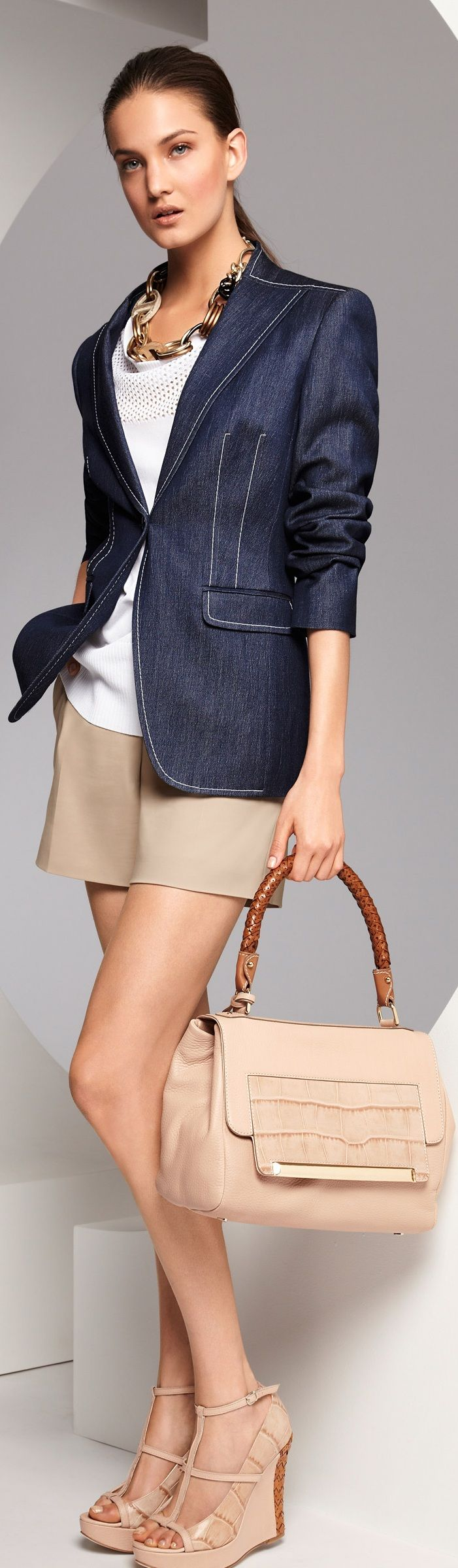 Escada ~ Summer Navy Denim Blazer over White Top w Tan Cotton Shorts, Tan Leather Handbag + Sandals