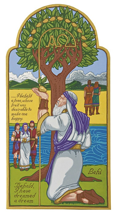"Lehi's Dream by Larry Ogan - Notice the Iron rod in the tree forms to make the symbols ""Alpha"" & ""Omega"", also the 12 fruits to represent the tribes of Israel and forever families.:"