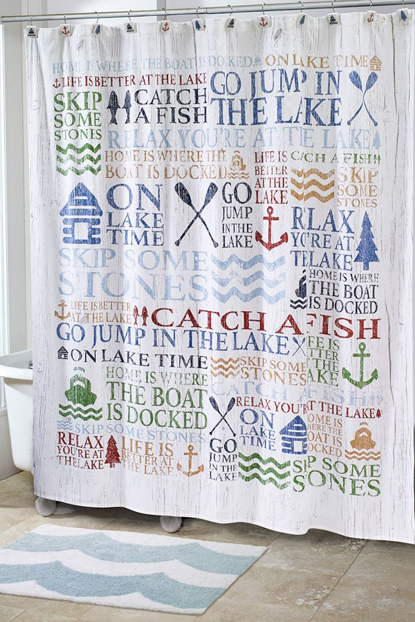 The Lake Words Shower Accents Create A Whimsical Atmosphere With