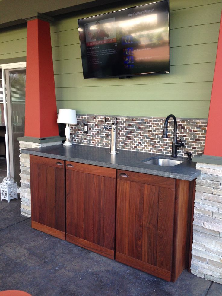 Elegant Outdoor Bar with Kegerator
