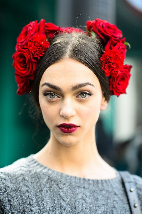 This may be spring 2015 Dolce e Gabbana but it makes a refreshing change to all the delicate bridal hair flower designs you see on here :)