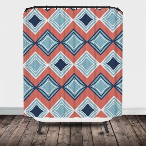 Navy Blue And Coral Shower Curtain
