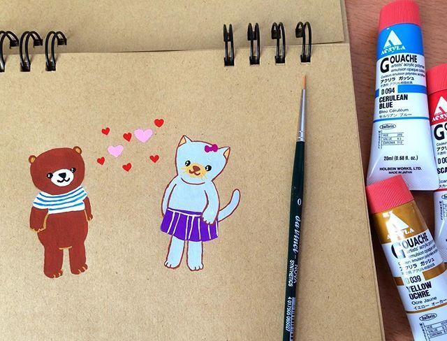 Heute habe ich meine neuen Acryla Farben ausprobiert und finde sie super! 👌🏻 . #illustration #doodle #sketchbook #pattipuuillustration #hamburg #germany #gouache #acrylagouache #color #brush #ausprobieren #painting #kawaii #bear #cat #love #try #イラスト