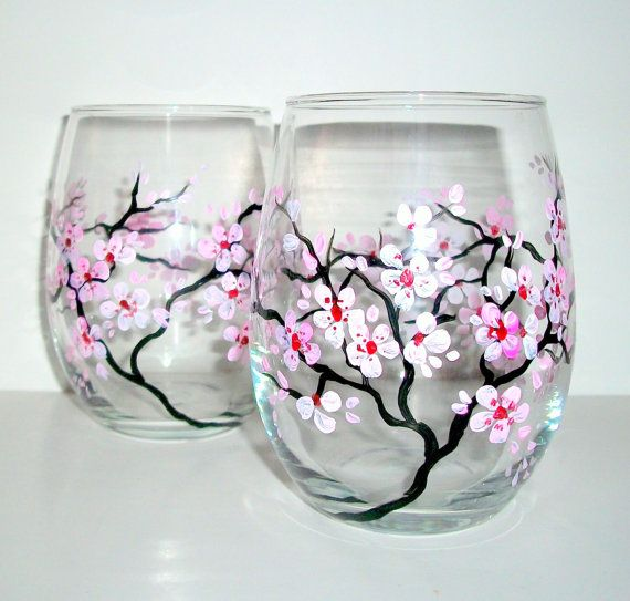 Spring Wedding Cherry Blossoms Handpainted Stemless Wine Glasses Set of 2 / 20 oz. Wedding,Anniversary,Gift / Made to Order via Etsy