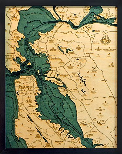 san francisco bay area 3 d nautical wood chart 16 x 20