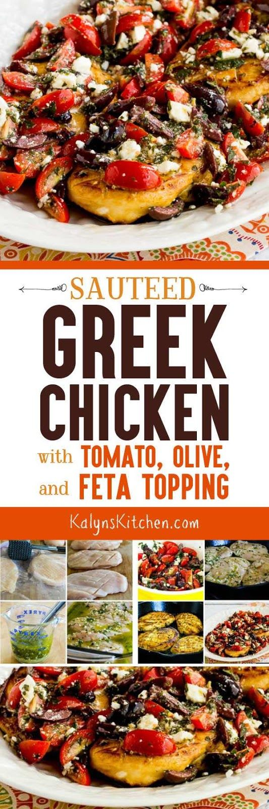 Sauteed Greek Chicken with Tomato, Olive, and Feta Topping is easy enough for an after-work dinner, and this tasty chicken is low-carb, low-glycemic, gluten-free, and South Beach Diet friendly. Use cherry tomatoes or grape tomatoes if it's not fresh tomato season. [found on KalynsKitchen.com]