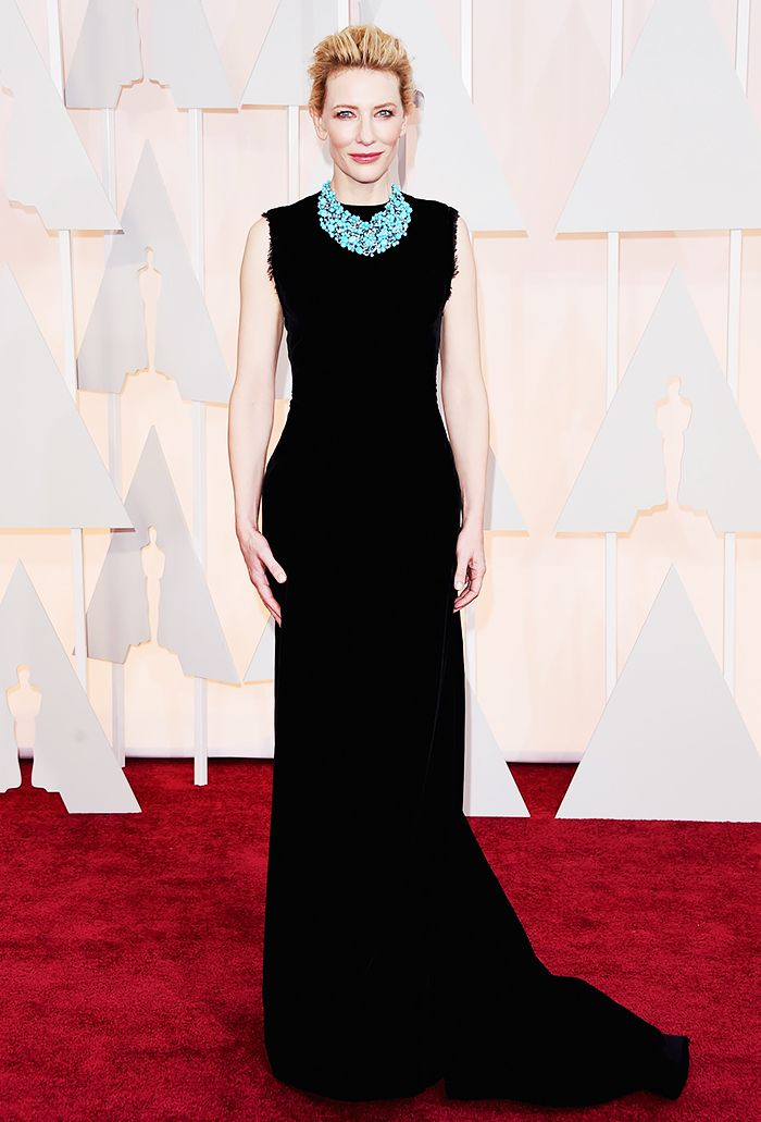 The always stunning Cate Blanchett in a black Margiela gown and bold turquoise statement necklace at the 2015 Oscars