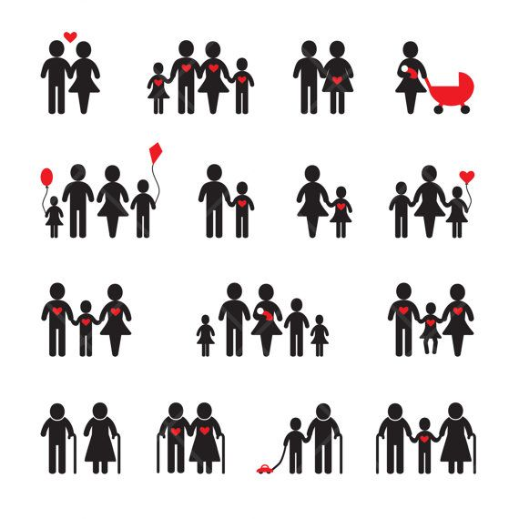 INSTANT DOWNLOAD Wedding Family Pictograms by DigitalVintageDreams, $2.80