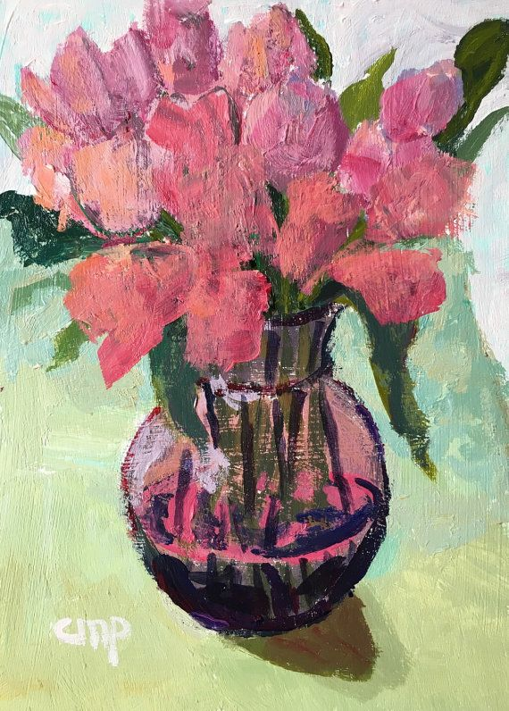 Impressionist flower painting flowers in by modernimpressionist