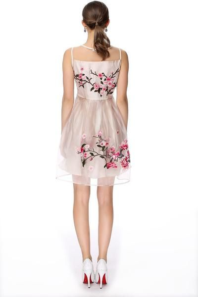 Embroidered with 3 d flowers, vintage style fully lined dress 3 colours, sizes S - 4XL