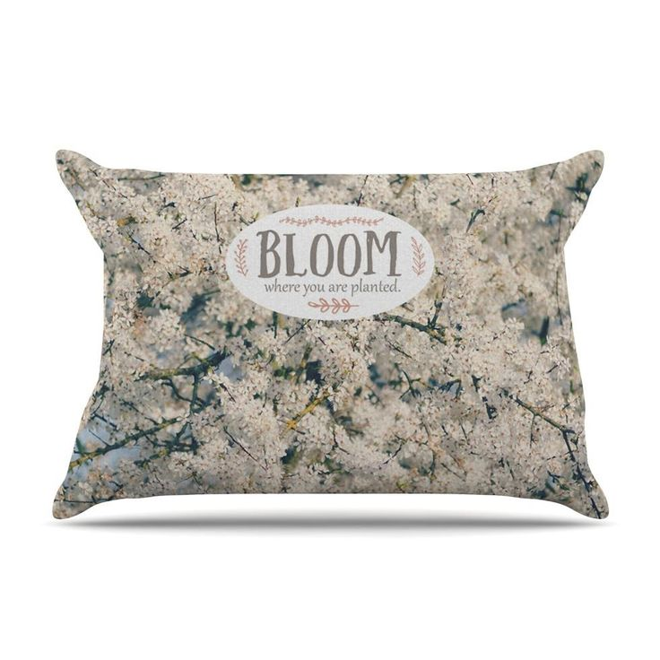 """Robin Dickinson """"Bloom Where You Are Planted"""" White Floral Pillow Case"""
