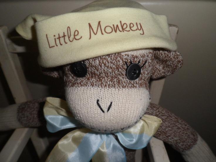 Sock Monkey With Little Monkey Cap and by sockmonkeysbyrosanna