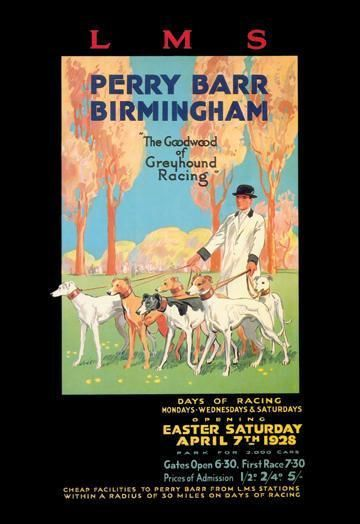 Perry Barr Birmingham - Greyhound Racing 12x18 Giclee on canvas