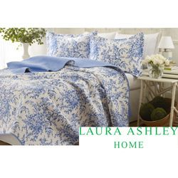 Laura Ashley 3-piece Blue Roseland Floral Cotton Reversible Quilt Set | Overstock.com Shopping - The Best Deals on Quilts