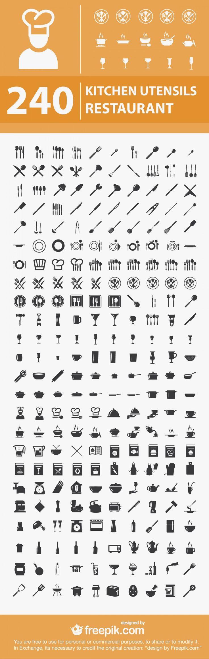 240 Free Kitchen / Restaurant Icons,