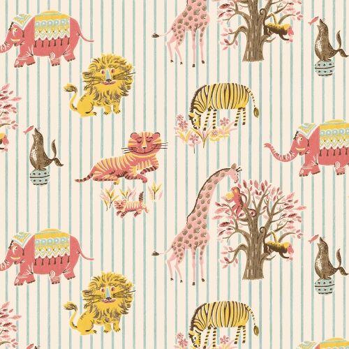 So cute! Zoo Animal vintage custom children wallpaper: 057 | Children's Vintage Wallpaper