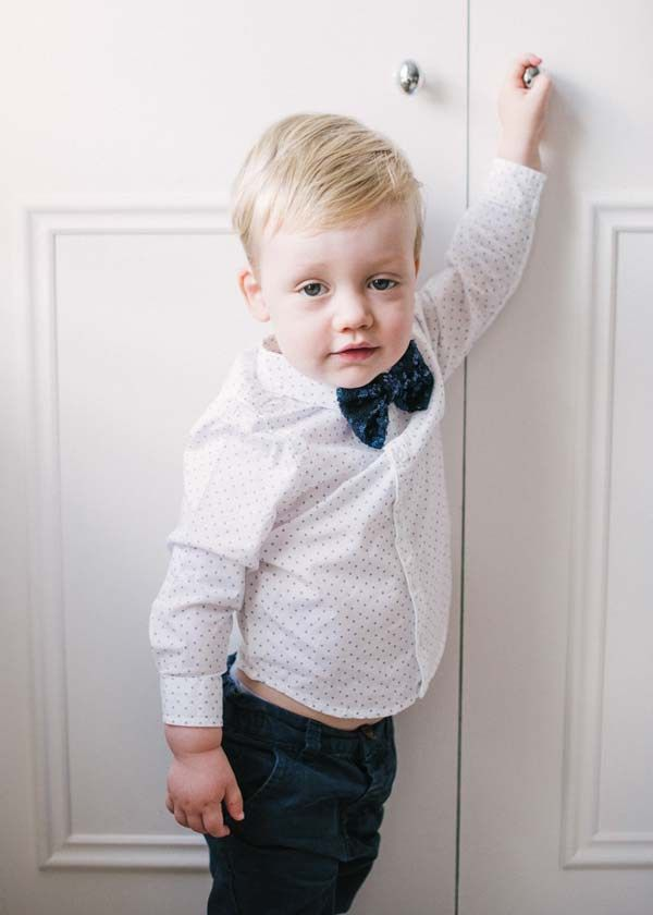 Page boy accessories wearing a navy sequinned page boy bow tie - so cute! See more at www.victoriamillesime.co.uk/millie