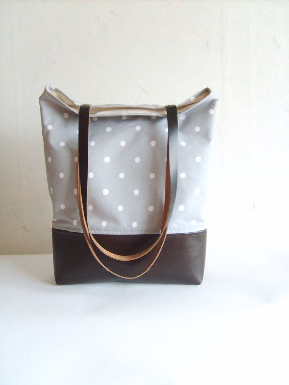 Polka dot tote bag, leather and canvas tote, grey tote bag, real leather handles, real leather strap