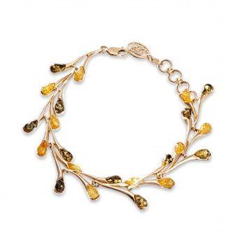 Золотой браслет с янтарем.