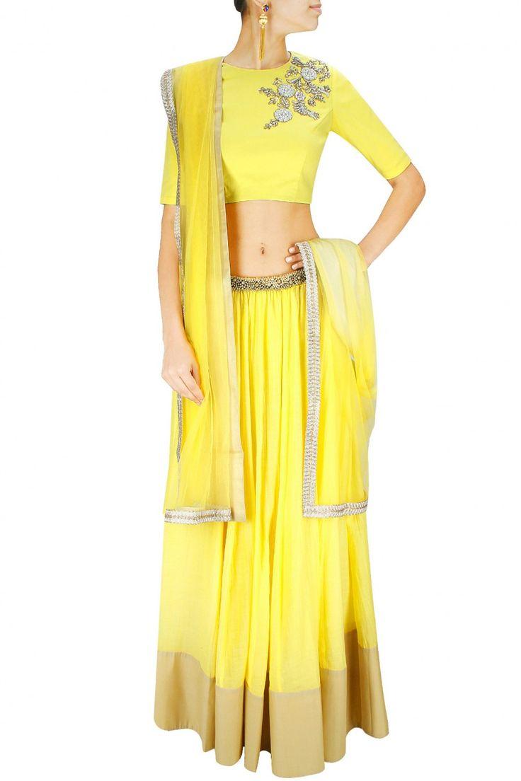 Yellow dabka embroidered lehenga set. BY SONALI GUPTA. Shop now at: www.perniaspopups... #perniaspopupshop #designer #stunning #fashion #style #beautiful #happyshopping #love #updates