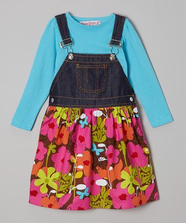 Another great find on #zulily! Turquoise Tee & Denim Floral Jumper - Toddler & Girls by Heather Feather #zulilyfinds