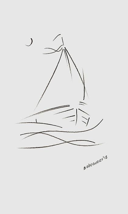 Simple Sailboat Drawing Poster By Mario  Perez                                                                                                                                                                                 More