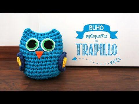 Búho Sujetapuertas de Trapillo - Patrón Gratis con Videotutorial aquí: http://www.missdiy.es/buho-sujetapuertas-de-trapillo/