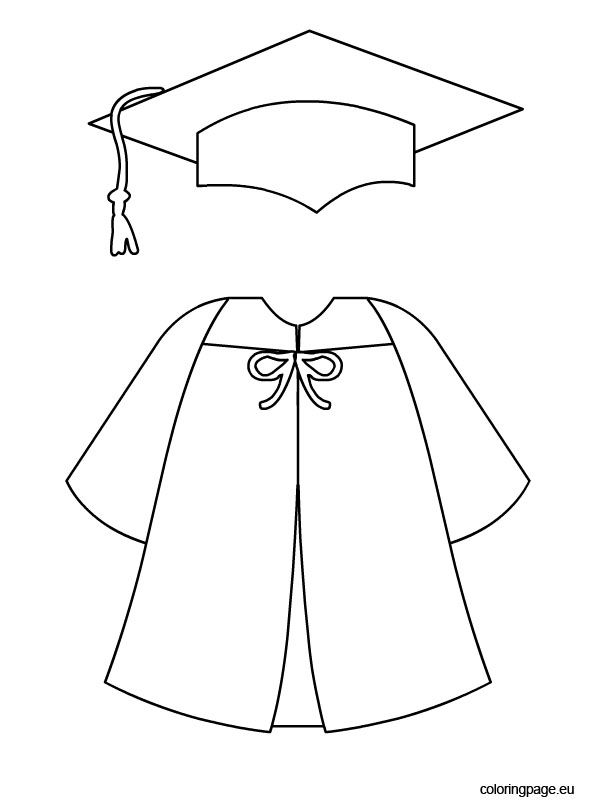 Graduation cap and gown template