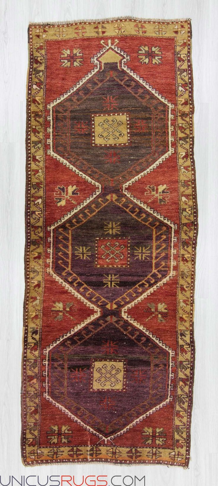 "Vintage runner rug from Malatya region of Turkey. In very good condition. Approximately 50-60 years old. Width: 3' 5"" - Length: 8' 8"" RUNNERS"