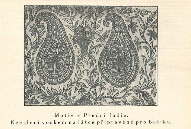 Batik: krátký návod o javanském způsobu kreslení voskem a barvení látek : s ukázkami potřeb a nástrojů, jakož i reprodukcemi původních javanských vzorů