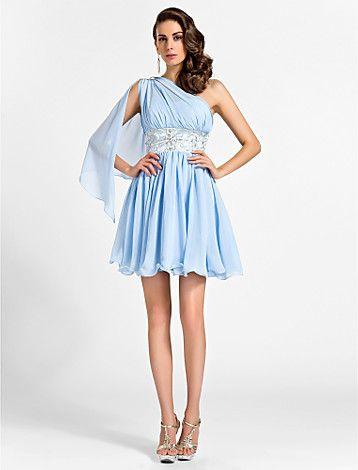 A-line One Shoulder Short/Mini Chiffon Bridesmaid Dress - USD $ 89.99