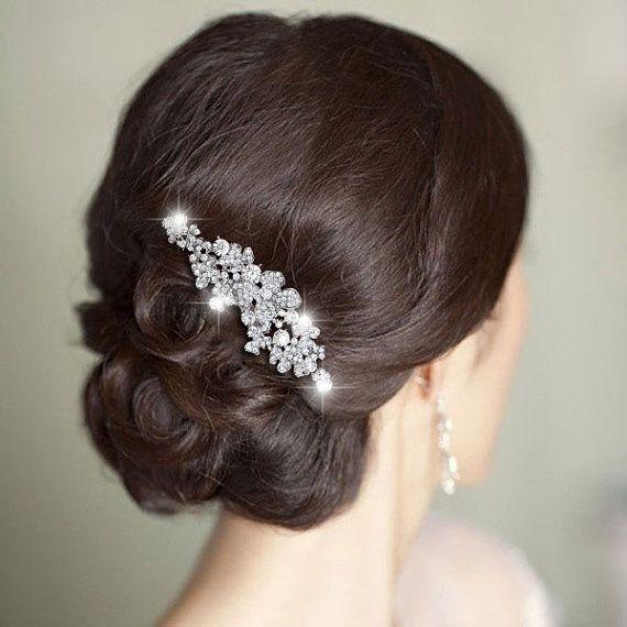 GEM Flower Swarovski Crystal Bridal Hair Comb, Bride Hair Accessories, Wedding Headpiece Tiara, Bridesmaid Jewelry-166926731 on Etsy, $21.78 CAD