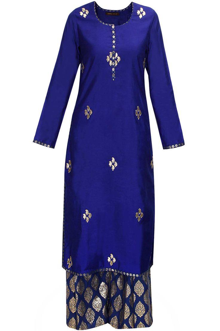 Royal blue and pink gota patti work kurta set by Amrita Thakur Shop now:http://www.perniaspopupshop.com/designers/amrita-thakur #shopnow #amritathakur #perniaspopupshop