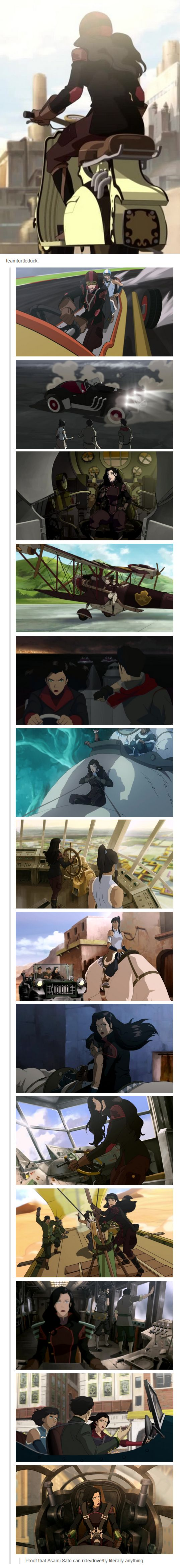 Proof that Asami Sato can ride/drive/fly literally anything.