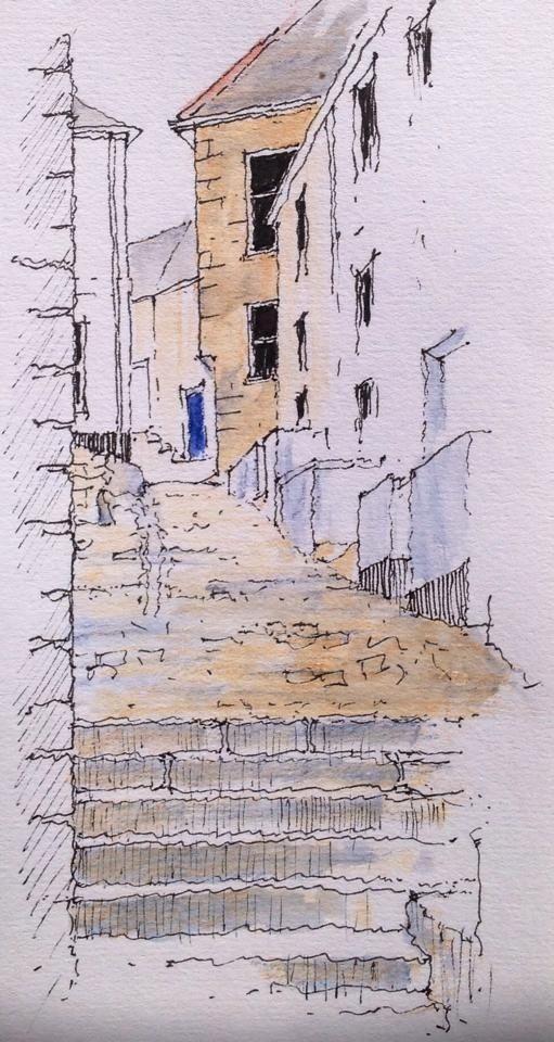 St Ives - Bethesda Hill - sketch ~ John Edwards