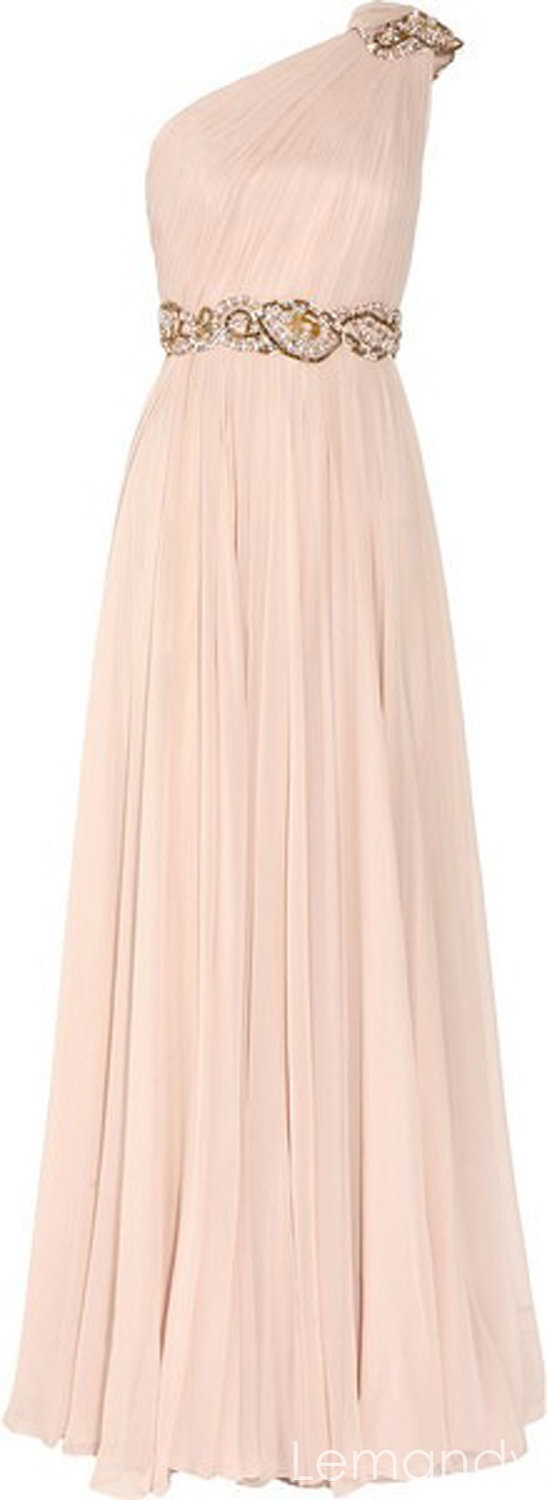 beaded one shoulder pink chiffon bridesmaid dress floor length. $225.00, via Etsy. alter to be short