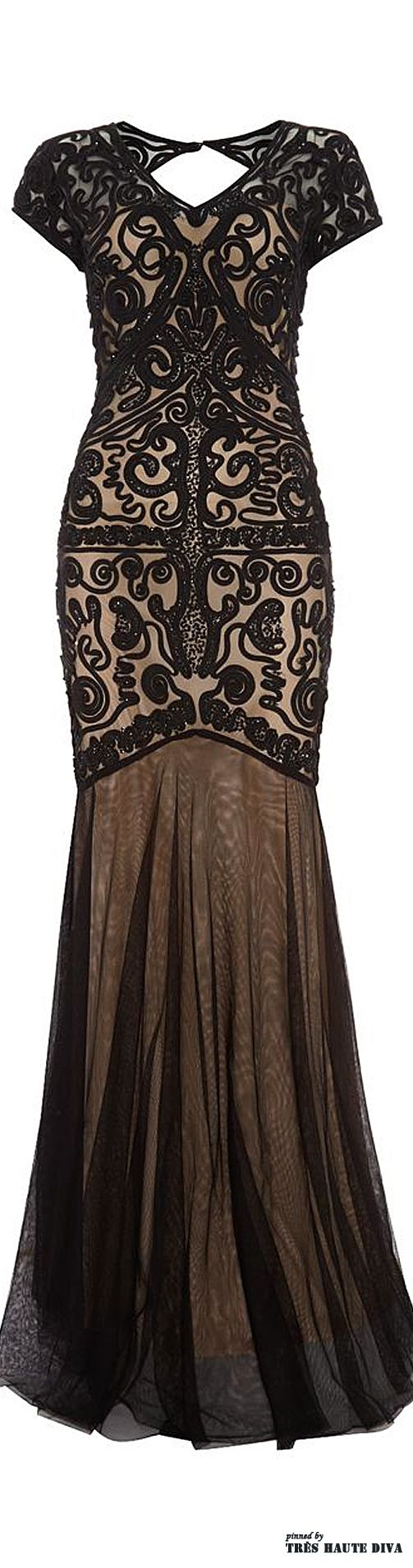 Black cornelli embroidered evening dress