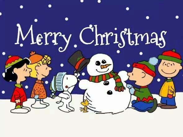 snoopy woodstock and the peanuts gang making a snowman with the caption merry christmas - Peanuts Christmas Movie