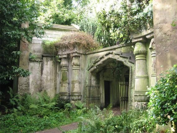 """Highgate Cemetery, London. (""""..was once the site of duelling magicians and mobs of stake-carrying vampire hunters"""")"""
