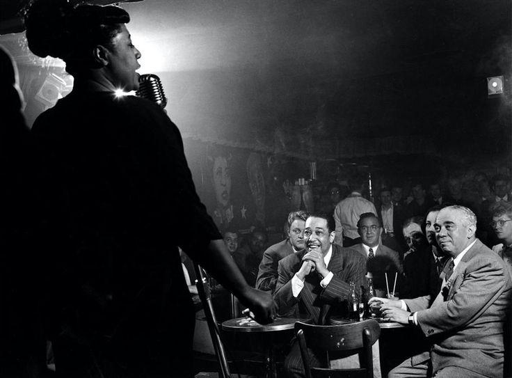 © Herman Leonard Ella Fitzgerald, Duke Ellington, Benny Goodman, NYC, 1948. From: MORRISON HOTEL GALLERY SHOW HONORS GRAMMY AND OSCAR WINNERS