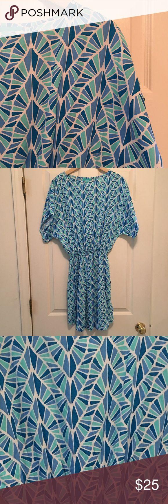 Escapada Resort Dress Resort living style, Poshmark pricing. Shades of blue in a geometric pattern, 100% rayon, xs. Escapada Dresses Midi