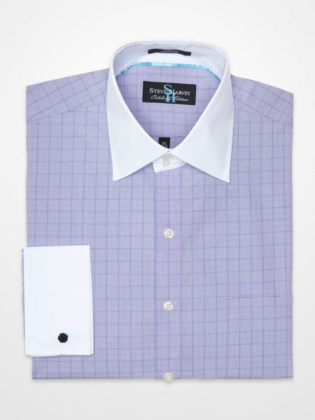 Steve harvey purple check french cuff dress shirt k for Purple french cuff dress shirt