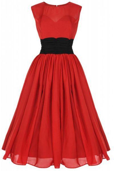 LindyBop Serena šaty, rudé s černým pasem