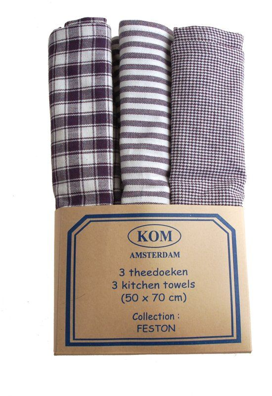 KOM Amsterdam Feston set met 3 theedoeken - 50x70 cm - blauw