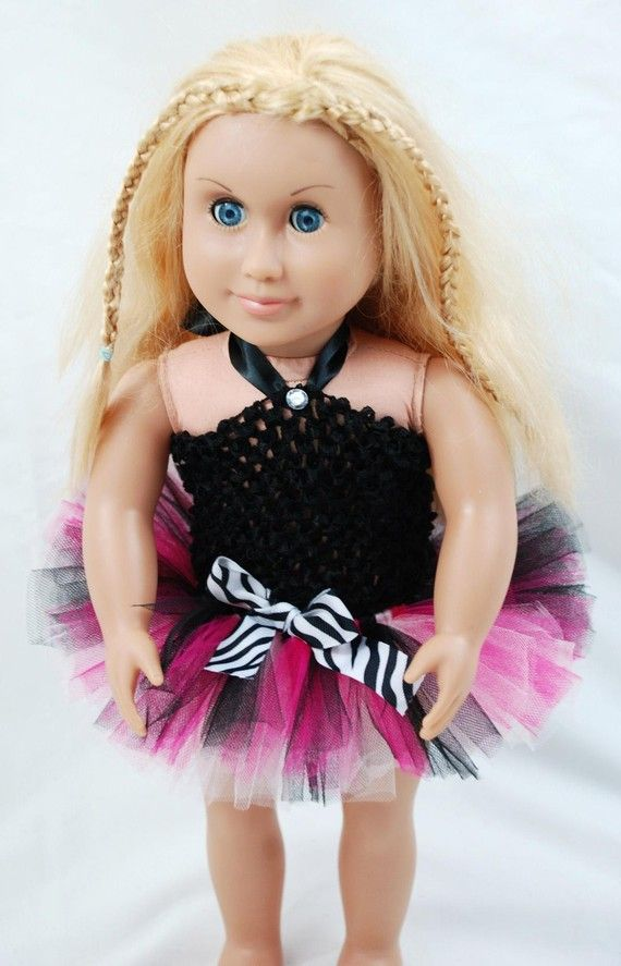 2-Piece Hot Pink Zebra Tutu Outfit for 18 and 15 Dolls - Fits American Girl Dolls and My Generation Dolls $10