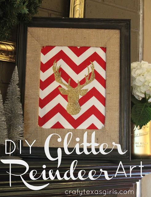 DIY Glitter Reindeer Art via Crafty Texas Girls I would probably ignore the chevron background and just do this on a simple background (personally)