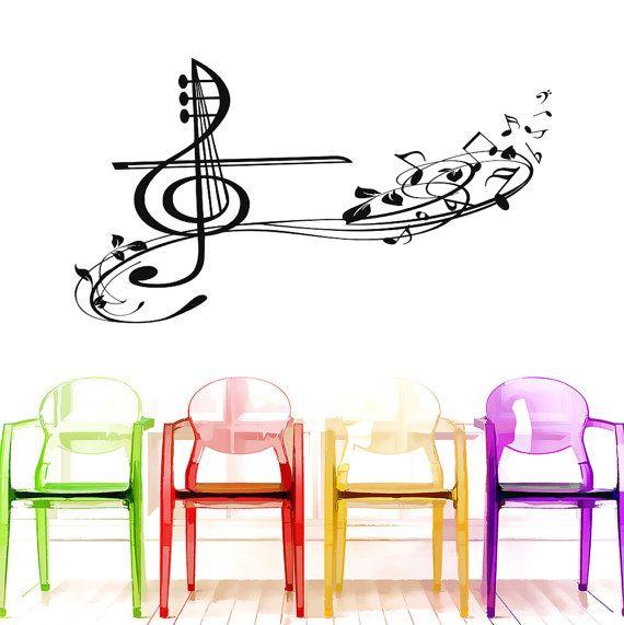 Clave de sol música pared calcomanías y notas por LollipopDecals