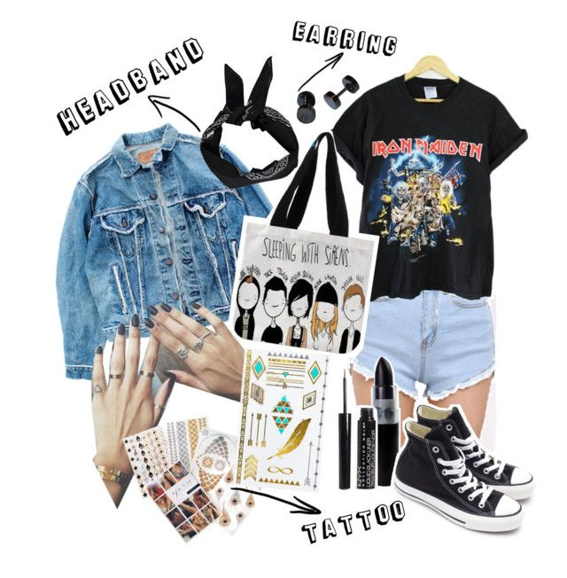 """""""Grunge style"""" by syifasyhdh on Polyvore featuring Levi's, Boohoo, Flash Tattoos, MANGO and Converse"""