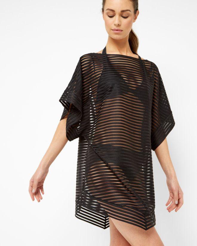d3520e975f Striped mesh cover up - Black
