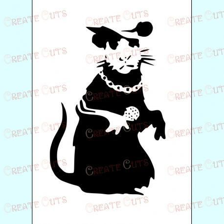Banksy Singing Rat Stencil